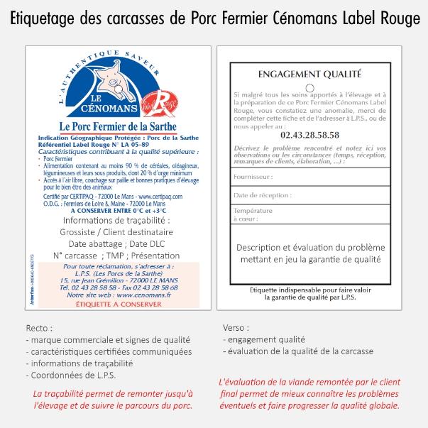 L'étiquette de certiifcation du Porc Fermier Cénomans Label Rouge sert aussi pour l'évaluation de la qualité des carcasses.